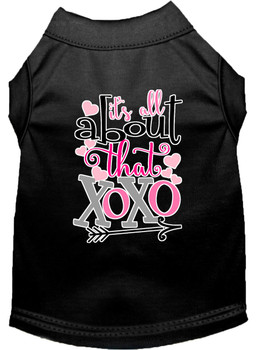 All About That Xoxo Screen Print Dog Shirt - Black