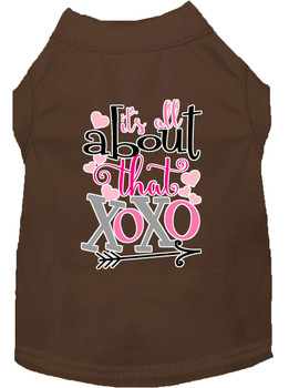 All About That Xoxo Screen Print Dog Shirt - Brown