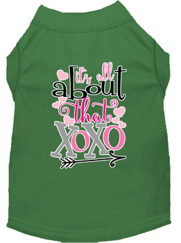 All About That Xoxo Screen Print Dog Shirt - Green