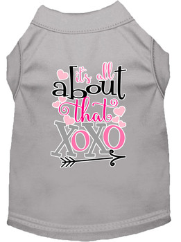 All About That Xoxo Screen Print Dog Shirt - Grey