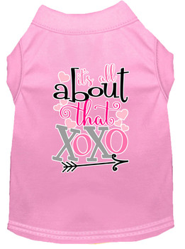 All About That Xoxo Screen Print Dog Shirt - Light Pink