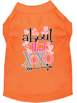 All About That Xoxo Screen Print Dog Shirt - Orange