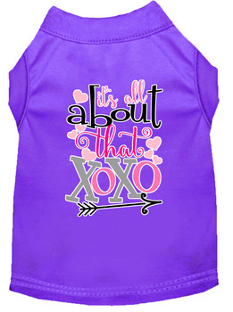All About That Xoxo Screen Print Dog Shirt - Purple