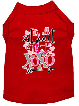 All About That Xoxo Screen Print Dog Shirt - Red