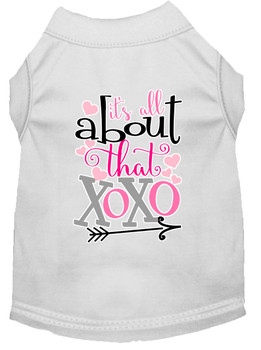 All About That Xoxo Screen Print Dog Shirt - White