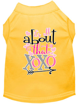 All About That Xoxo Screen Print Dog Shirt - Yellow
