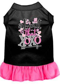 All About The Xoxo Screen Print Dog Dress - Black With Bright Pink