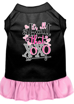 All About The Xoxo Screen Print Dog Dress - Black With Light Pink