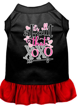 All About The Xoxo Screen Print Dog Dress - Black With Red