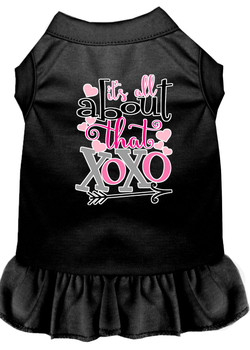All About The Xoxo Screen Print Dog Dress - Black