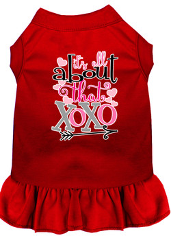 All About The Xoxo Screen Print Dog Dress - Red