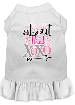 All About The Xoxo Screen Print Dog Dress - White