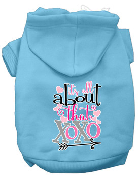 All About That Xoxo Screen Print Dog Hoodie - Baby Blue
