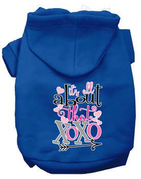 All About That Xoxo Screen Print Dog Hoodie - Blue