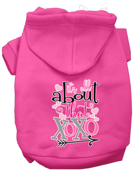 All About That Xoxo Screen Print Dog Hoodie - Bright Pink