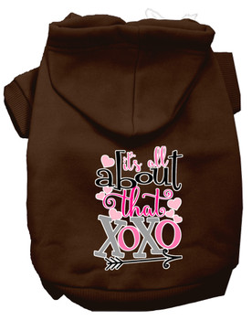 All About That Xoxo Screen Print Dog Hoodie - Brown