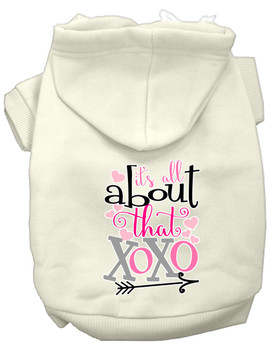 All About That Xoxo Screen Print Dog Hoodie - Cream