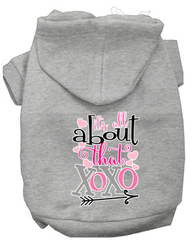 All About That Xoxo Screen Print Dog Hoodie - Grey