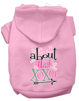 All About That Xoxo Screen Print Dog Hoodie - Light Pink