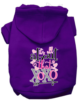 All About That Xoxo Screen Print Dog Hoodie - Purple
