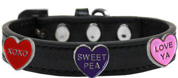 Conversation Hearts Widget Dog Collar - Black
