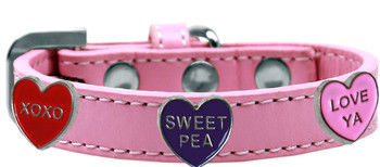 Conversation Hearts Widget Dog Collar - Light Pink
