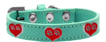 Paw Heart Widget Dog Collar - Aqua