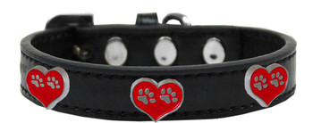 Paw Heart Widget Dog Collar - Black