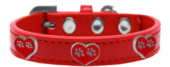 Paw Heart Widget Dog Collar - Red
