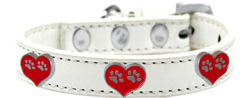 Paw Heart Widget Dog Collar - White
