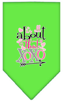 All About That Xoxo Screen Print Bandana - Lime Green