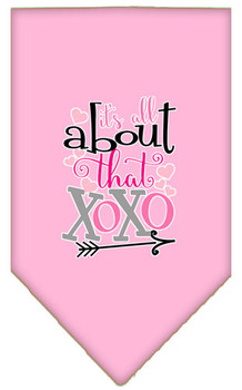 All About That Xoxo Screen Print Bandana - Light Pink