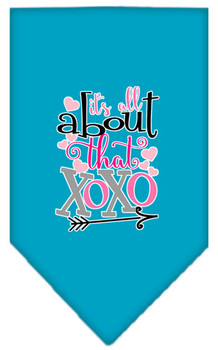 All About That Xoxo Screen Print Bandana - Turquoise