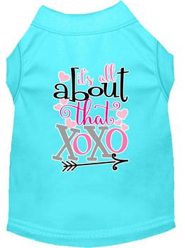 All About That Xoxo Screen Print Dog Shirt - Aqua