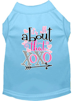 All About That Xoxo Screen Print Dog Shirt - Baby Blue
