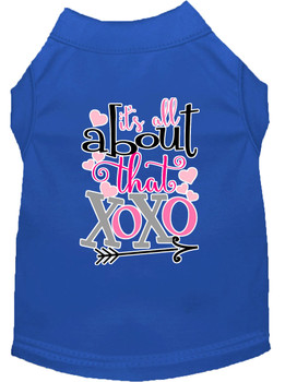 All About That Xoxo Screen Print Dog Shirt - Blue