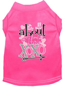 All About That Xoxo Screen Print Dog Shirt - Bright Pink