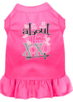 All About The Xoxo Screen Print Dog Dress - Bright Pink