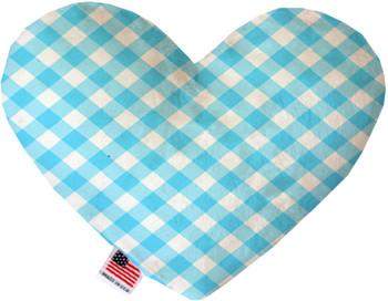 Baby Blue Plaid Heart Dog Toy, 2 Sizes