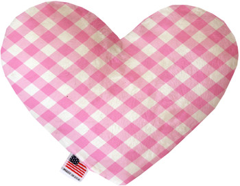 Baby Pink Plaid Heart Dog Toy, 2 Sizes