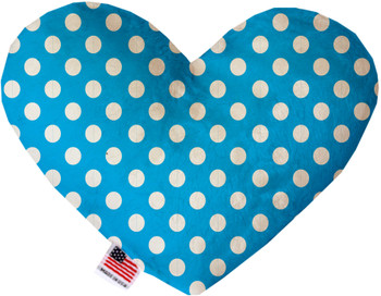 Aqua Blue Swiss Dots Heart Dog Toy, 2 Sizes