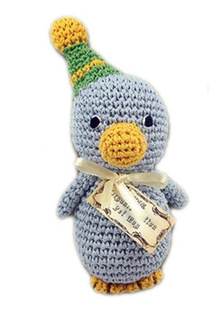 Knit Knacks Disco Duck Organic Cotton Small Dog Toy