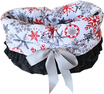 Red Snowflake Reversible Snuggle Bugs Pet Bed, Bag, And Car Seat All-in-one