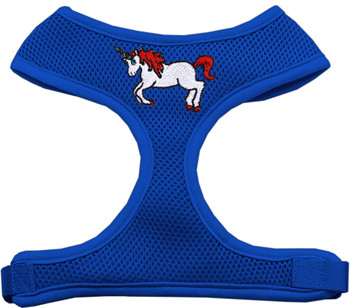 Unicorn Embroidered Soft Mesh Pet Harness - Blue