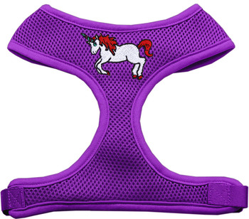 Unicorn Embroidered Soft Mesh Pet Harness - Purple