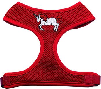Unicorn Embroidered Soft Mesh Pet Harness - Red