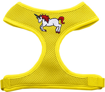 Unicorn Embroidered Soft Mesh Pet Harness - Yellow
