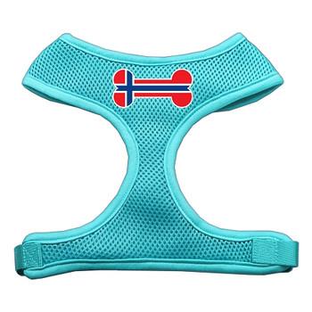 Bone Flag Norway Screen Print Soft Mesh Pet Harness - Aqua