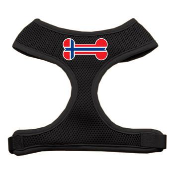 Bone Flag Norway Screen Print Soft Mesh Pet Harness - Black