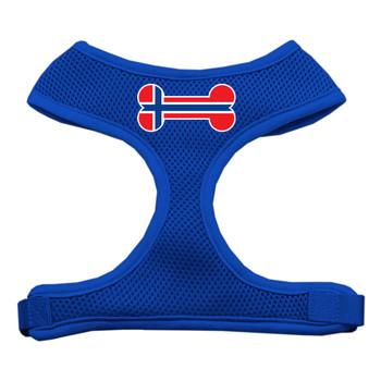 Bone Flag Norway Screen Print Soft Mesh Pet Harness - Blue